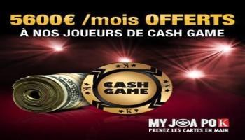 MyJoaPok offre 5600 € à ses joueurs de cash game les plus assidus grâce au principe de mains rakés