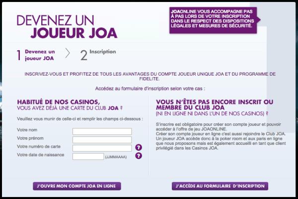 page d'accueil d'inscription sur Joa online