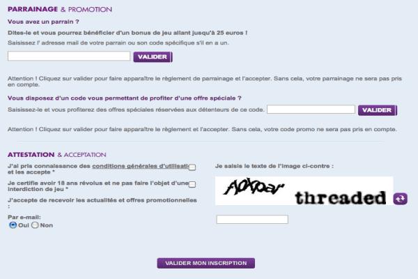 parrainage et acceptation des conditions sur Joa online