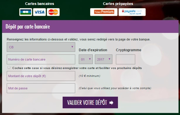 JOA Online : déposez de l'argent sur votre compte