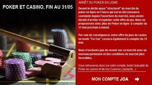 JOA arret du poker en ligne